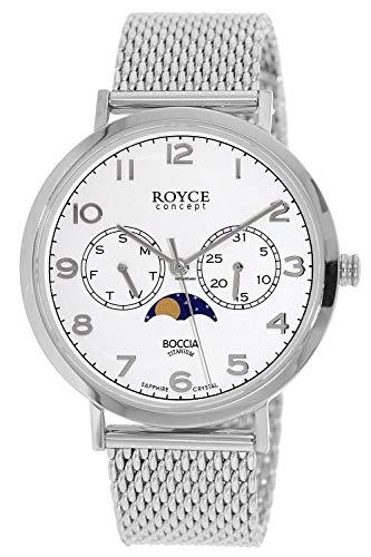 Boccia Herren Analog Quarz Uhr mit Edelstahl Armband 3612-04
