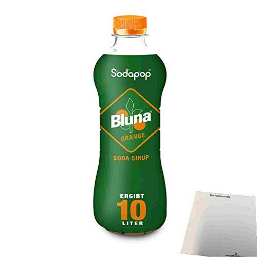 Bluna Orange Sirup für Wassersprudler (500ml Flasche) + usy Block