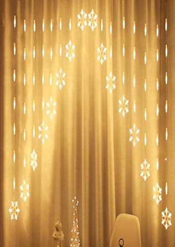 Ice-Beaut 16 Sets of Indoor Light String Led Creative Snowflake Christmas Holiday Decoration Lantern Battery Copper Wire Lamp Indoor and Outdoor Waterproof Curtain String