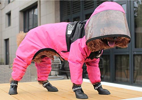 Impermeable para perros Perro Chubasqueros-Abrigo con Chaqueta Capucha medianos Tiras reflectoras seguras Sudaderas Agujero Arnés Tira Reflectante Bolsillos Ultra-Light Transpirable, powder /