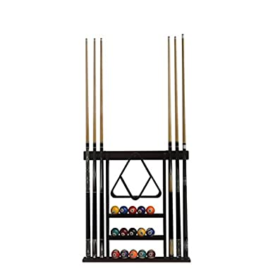 Flintar Wall Cue Rack, Stylish Premium Billiard Pool Cue Stick holder, Made of Solid Hardwood, New Improved Wall Mounting Hardware L Bracket Included, Cue Rack Only, Mahogany Finish