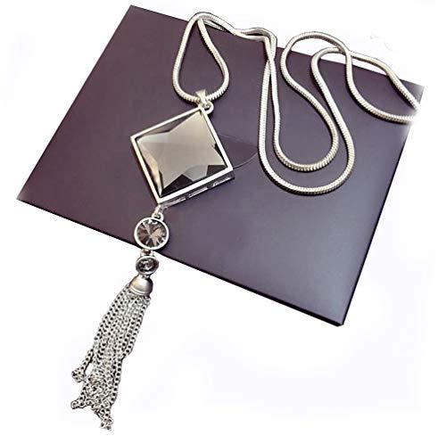 La Ferani - Cadena con colgante para mujer, 75 cm, plata para mujeres, diseño elegante y lujoso, accesorio informal