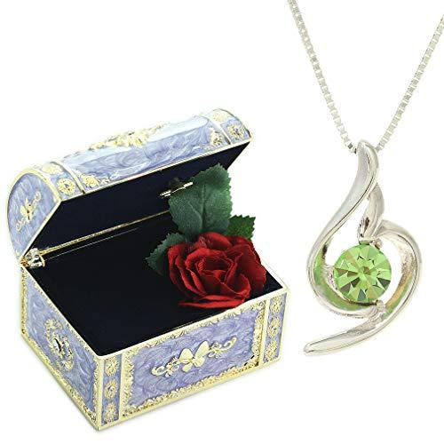[デバリエ] y441-jv(per) 8月誕生日プレゼント 女性 彼女 妻 嫁 母 人気 母の日のプレゼント 贈り物 ギフト ネックレス レディース 贈り物 セット品(オルゴール1組 ネックレス1組) ラッピング付 クリスタル シルバー