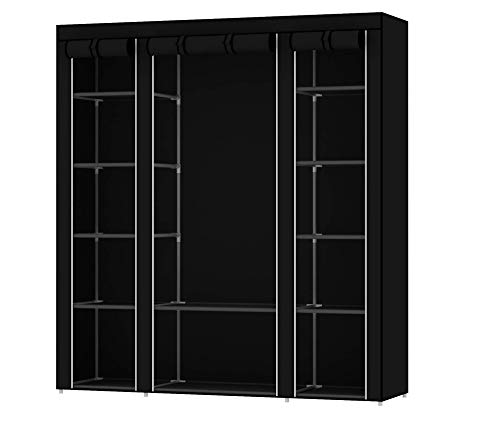 Intirilife Armario Tela Plegable 150x175x45 cm in Negro Cuervo – Guardar Ropa...