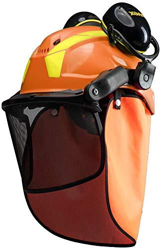 Uvex Pheos - Casco de Protección Forestal - con Visera y Protección Auditiva - Protección del Cuello - Naranja