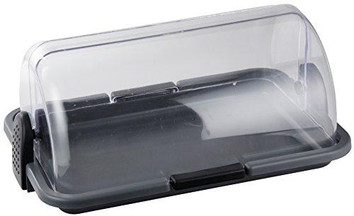 Fackelmann Brotkasten, Rollbrotkasten aus Kunststoff, Brotbox zur Aufbewahrung von Backwaren (Farbe: Transparent/Grau/Schwarz), Menge: 1 Stück