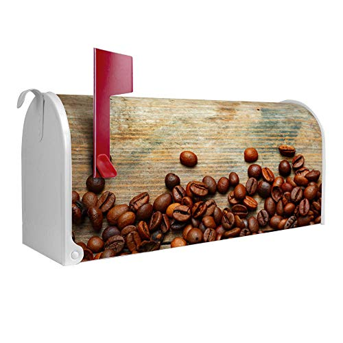 BANJADO US Mailbox   Amerikanischer Briefkasten 51x22x17cm   Letterbox Stahl weiß   mit Motiv Kaffeebohnen