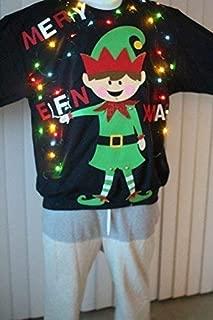 Ugly Christmas Sweater (sweatshirts) Men Merry Elfin Christmas with lights s,m,l,xl,2xl,3xl,4xl (sweatshirts)