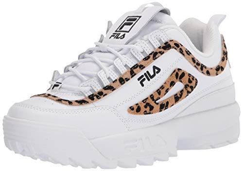 Fila womens Fila Women's Disruptor Ii Leopard Sneaker, White/Black/White, 9 US