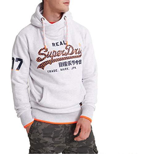 Superdry Herren Vintage Logo Neon Tip Hood Ice Marl grau - XXL/18