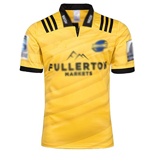 LQLD Männer Jersey, WM 2018 Hurricane Home Court Rugby Jersey, Halbarm Kurze Hülsen-Revers, Erwachsene Sportbekleidung, Lässige Outdoor-Sportbekleidung,Gelb,XXL