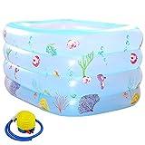 Aufblasbare Pool,Groß Planschbecken für Kinder Erwachsene Baby, Family Pool Schwimmbecken Rechteckig Swimmingpool Babypool/blue / 140x105x75cm