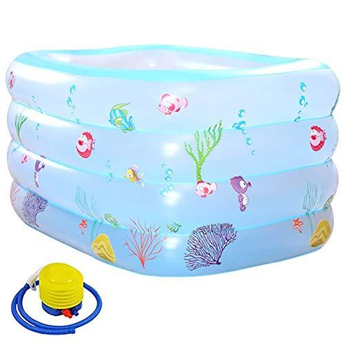 JI TA Aufblasbare Pool,Groß Planschbecken für Kinder Erwachsene Baby, Family Pool Schwimmbecken Rechteckig Swimmingpool Babypool/blue / 140x105x75cm
