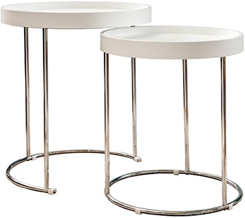 Invicta Interior 2er Set funktioneller Art Deco Beistelltisch Two-Way Chrom Wei Couchtisch Satztische Tische