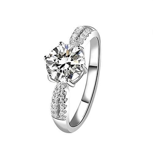 ELINA Anillo de Plata esterlina S925, Anillo de Boda de Compromiso de Apertura Ajustable a la Moda, joyería clásica de Seis Puntas con Diamantes para Mujer