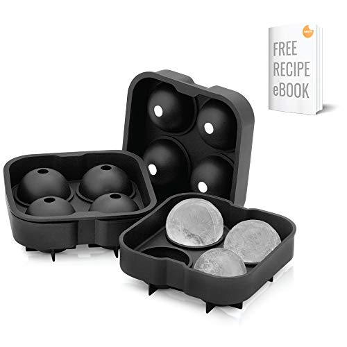 Arctic Chill Ice Cube Round Mold, New for 2020, Large 2 Inch Ice Balls, Bonus Collapsible Funnel, Keep Your Cocktails Chilled Longer, Pack of 4 Makes 16 Big Ice Spheres, Made of Extra Thick Silicone