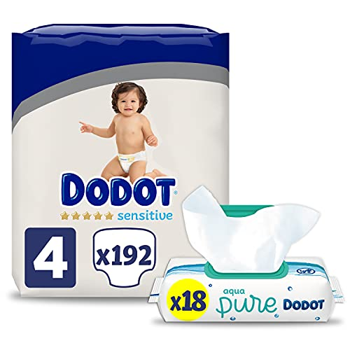 Dodot Pañales Bebé Sensitive Talla 4 (9-14 kg), 192 Pañales + Toallitas Aqua Pure, 99% Agua, 18 Paquetes (18x48), Máxima Protección de la Piel de Dodot