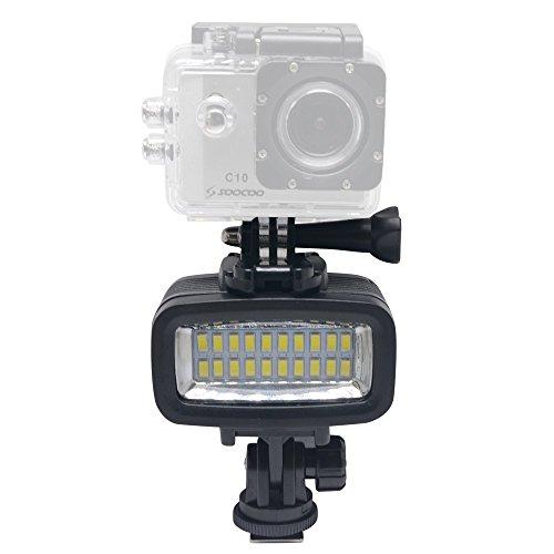 Camera Plus - de alta potencia bajo el agua 40M impermeables 20pcs LED Luz de vídeo de buceo para GoPro, cámaras de acción, Debajo del agua réflex digitales, Casco