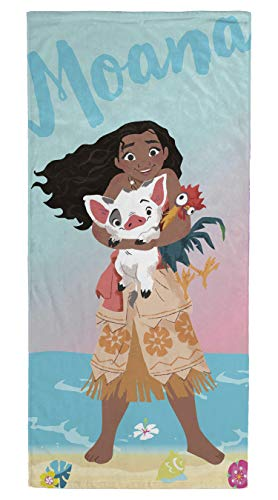 Jay Franco Disney Moana Kids Bath/Pool/Beach Towel - Featuring Moana & Pua - Super Soft & Absorbent Fade Resistant Cotton Towel, Measures 28 inch x 58 inch (Official Disney Product)