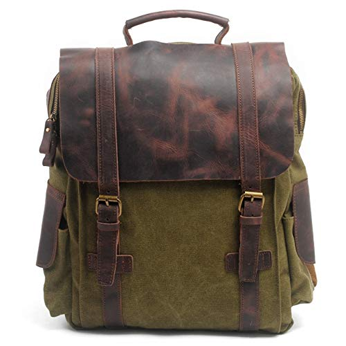 Eysee Rucksack Herren Canvas mit Leder-Vintage Rucksack Tagesrucksack Daypack