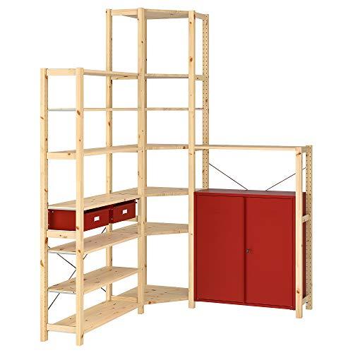 Estantería esquinera IVAR con gabinete/cajones 30x226 cm pino/rojo