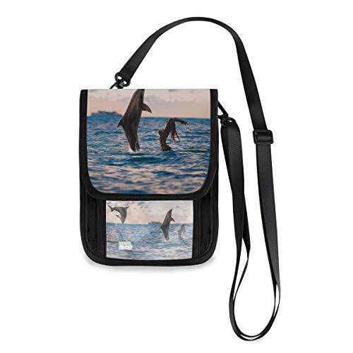 XiangHeFu Monedero Estuche Monedero Bolsa para teléfono Portatarjetas de gran capacidad Oceanview 2 Delfines Juega con chica en el agua Cloudscape Organizador Monedero