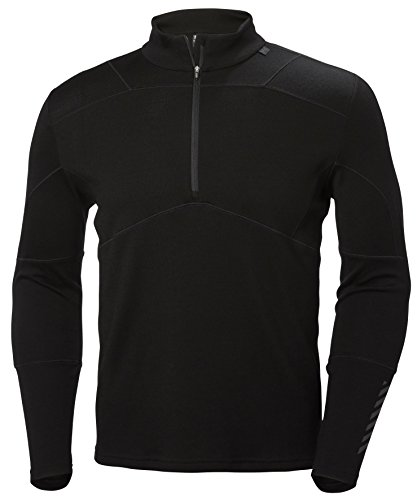 Helly Hansen Herren Hh Lifa Merino 1/2 Zip Funktionsshirt Langarmshirts, Black, X-Large