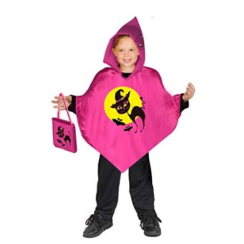 Ciao- Baby Poncho Streghetta (Taglia Unica 3-6 Anni) con Borsetta portadolci Dolcetto o Scherzetto Costume, Colore Rosa, 62327