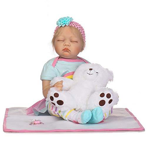 HUJUNG 22 Pulgadas Linda Realista Reborn Baby Dolls Silicone Cuerpo Completo Bebé Negocio Recién Nacido Reborn Muñeca Ojos Abiertos