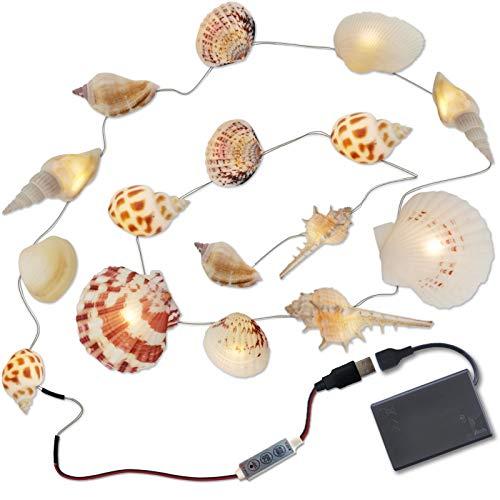 Cadena de luces con conchas, cadena de luces LED marítimas con caja de pilas, 20 ledes de color blanco cálido, conchas reales, iluminación creativa para Halloween, decoración navideña