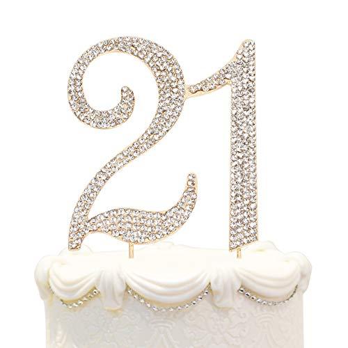 Hatcher lee Bling Crystal 21 Birthday Cake Topper - Best Keepsake | 21st Party Decorations Gold