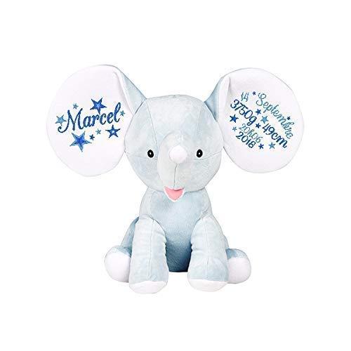 Peluche - l'éléphant, personnaliser avec broderie, cadeau pour naissance, baptême, fêtes, Noël, brodé, personnalisé, doudou prénom