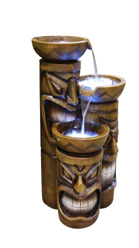 Outdoor Garden 3 Tiered Tiki Fountain with LED Lights - Brown