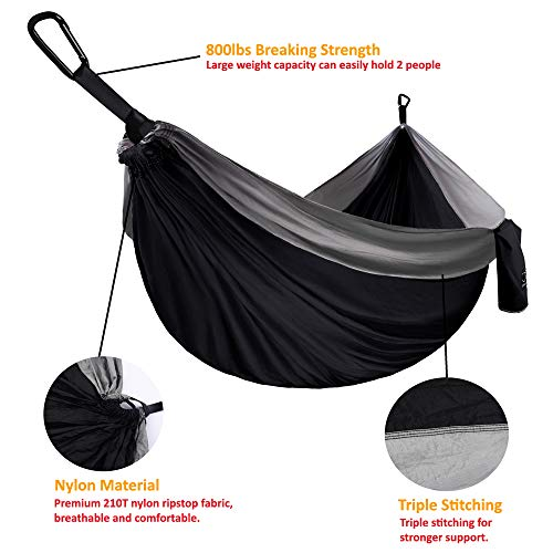 Gold Armour Camping Hammock - Extra Large Double Parachute Hammock (2 Tree Straps 16 Loops/10 ft Included) USA Brand Lightweight Portable Mens Womens Kids, Camping Accessories Gear (Black/Gray)