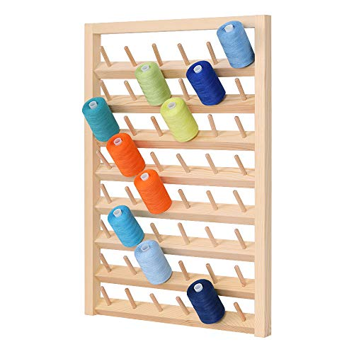 48-Spool Thread Rack, Wooden Thread Holder Sewing Organizer, Collapsible Wall Mount Stand Holder for Sewing, Quilting, Embroidery, Hair-braiding …