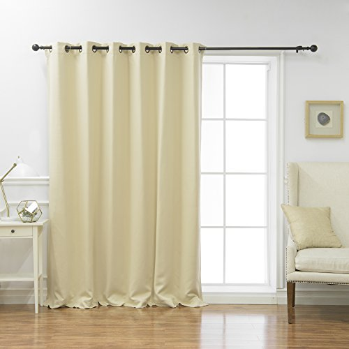 """Best Home Fashion Premium Wide Width Thermal Insulated Blackout Curtain - Antique Bronze Grommet Top - Beige - 80"""" W x 84"""" L - (1 Panel)"""