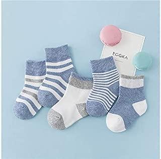 Lovely Socks 5 Pairs Children Cotton Socks Kids Autumn and Winter Stripe Pattern Short Tube Socks(Orange) Newborn Sock (Color : Light Blue)
