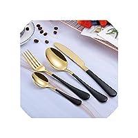 スチールカトラリーセットゴールドカトラリーセットステンレス鋼カトラリー西洋食器セットキッチンナイフスプーンピンクセット、ブラックゴールド