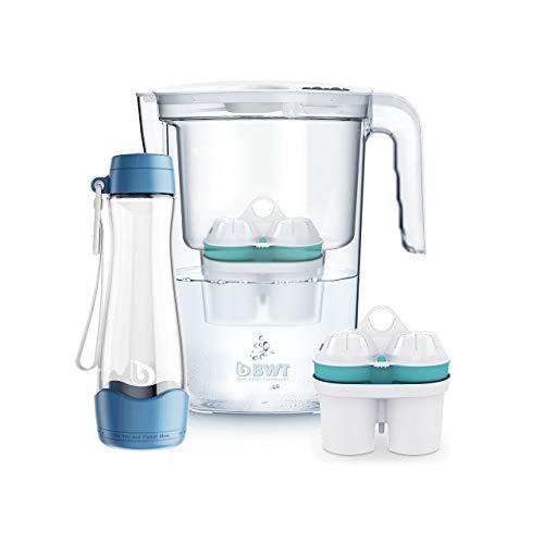 BWT Wasserfilter VIDA 2,6 l weiß mit 2 Filterkartuschen Zinc + Magnesium Mineralized Water   Immunsystem schützen mit Zink   inkl. Glasflasche Refill in blau
