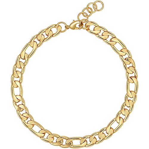 Gold Figaro Chain Choker Necklace Short for Women 16' 18K Gold Plated Punk Gothic Hip Hop Thick Cuban Link Chunky Necklace for Women's Girls