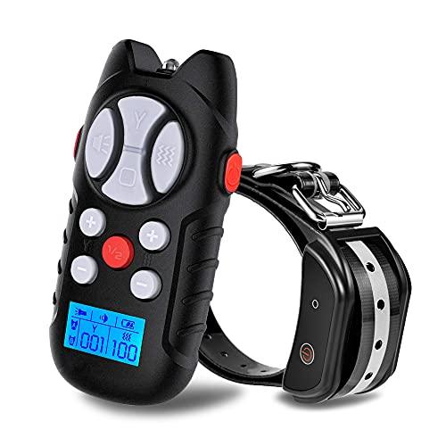 YJWFHPU Collar Adiestramiento Perros con Modo de Vibración, Sonido Y Luz, Collar para Perros Grandes, 1000m de Alcance Remoto con Bloqueo de Seguridad, Collar Resistente al Agua