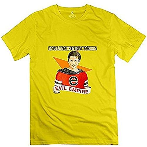 NR Men's Album Cover Rage Against The Machine Evil Empire T Shirt Yellow