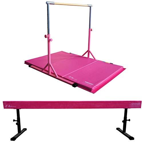 Z ATHLETIC Expandable Kip Bar for Gymnastics, 4ft x 6ft x 2in Mat, Adj Off Ground Balance Beam Set (Pink)