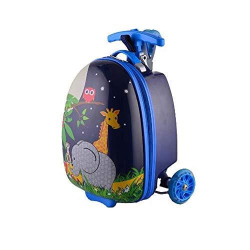 LHY EQUIPMENaT Maleta Infantil con Ruedas Equipaje para NiñOs Bolso De La Carretilla Scooter Maleta De CáScara Dura Bolso De Escuela De 16 Pulgadas,Azul