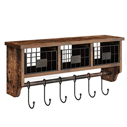 """Rolanstar Wall Mounted Shelf with Hooks, Entryway Organizer Shelf with Storage Cabinets, Wall Mount Coat Rack with 6 Hooks, 24"""" Hanging Coffee Bar Shelf for Living Room Bathroom Kitchen Rustic Brown"""