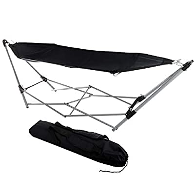 Lavish Home 80-OUTHAM-BLK Portable Hammock with Stand, Black