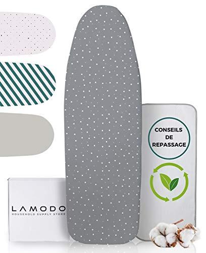 LAMODO 120x40 housse de planche à repasser pour fer à vapeur en 100% coton avec rembourrage et revêtement extra épais - bande élastique et tendeurs + conseils de repassage