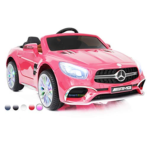 Dollys Shop Ride On Toys - Electric Car 12V Powered Mercedes Benz - 12V Battery Remote Control Car - Ride On Car for Kids - MP3 LED Wheels MP4 Touch Screen Pink