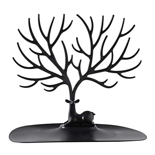 Hidyliu 1 Pieza Organizador de Joyas, Diseño de árbol de Ciervo, Colgador de Joyas, Soporte de Exhibición de Collar con Bandeja, para Guardar Collares Anillos Pendientes Pulseras Accesorios(Negro)