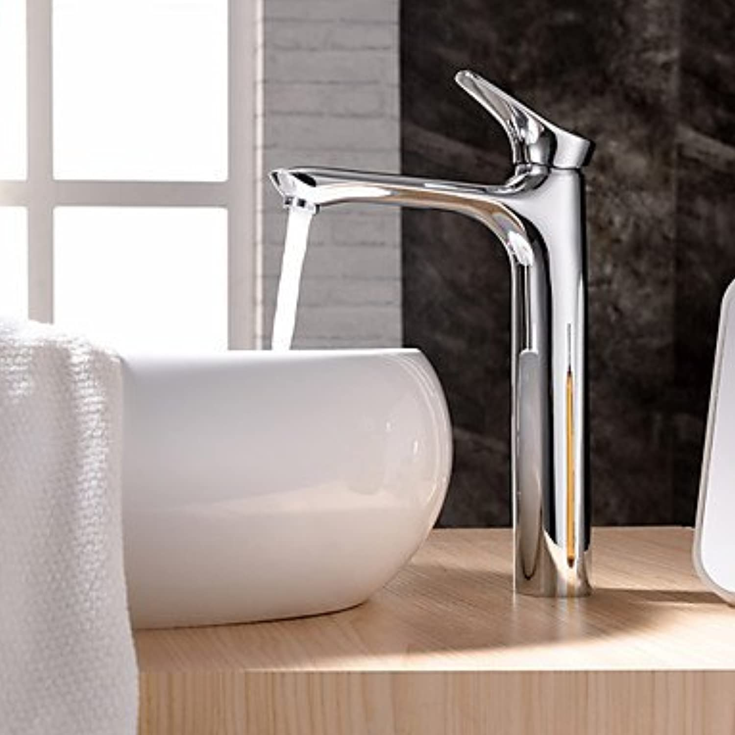 SUNNY KEY-Bathroom Sink Taps@Chrome-plated brass bathroom sink faucets single click tall